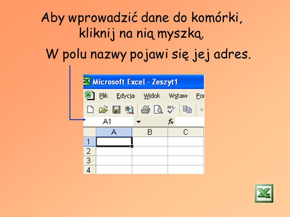 Inne ważne elementy arkusza kalkulacyjnego: Aktywna komórka Pole nazwy Pasek formuły Paski narzędziowe Przesuwanie dokumentu Nagłówki kolumn Nagłówki
