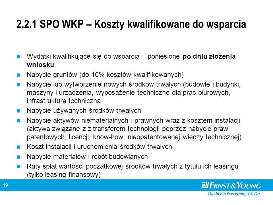 19 2.2.1 SPO WKP – Koszty kwalifikowane do wsparcia Wydatki kwalifikujące się do wsparcia – poniesione po dniu złożenia wniosku Nabycie gruntów (do 10% kosztów kwalifikowanych) Nabycie lub wytworzenie nowych środków trwałych (budowle i budynki, maszyny i urządzenia, wyposażenie techniczne dla prac biurowych, infrastruktura techniczna Nabycie używanych środków trwałych Nabycie aktywów niematerialnych i prawnych wraz z kosztem instalacji (aktywa związane z z transferem technologii poprzez nabycie praw patentowych, licencji, know-how, nieopatentowanej wiedzy technicznej) Koszt instalacji i uruchomienia środków trwałych Nabycie materiałów i robót budowlanych Raty spłat wartości początkowej środków trwałych z tytułu ich leasingu (tylko leasing finansowy)