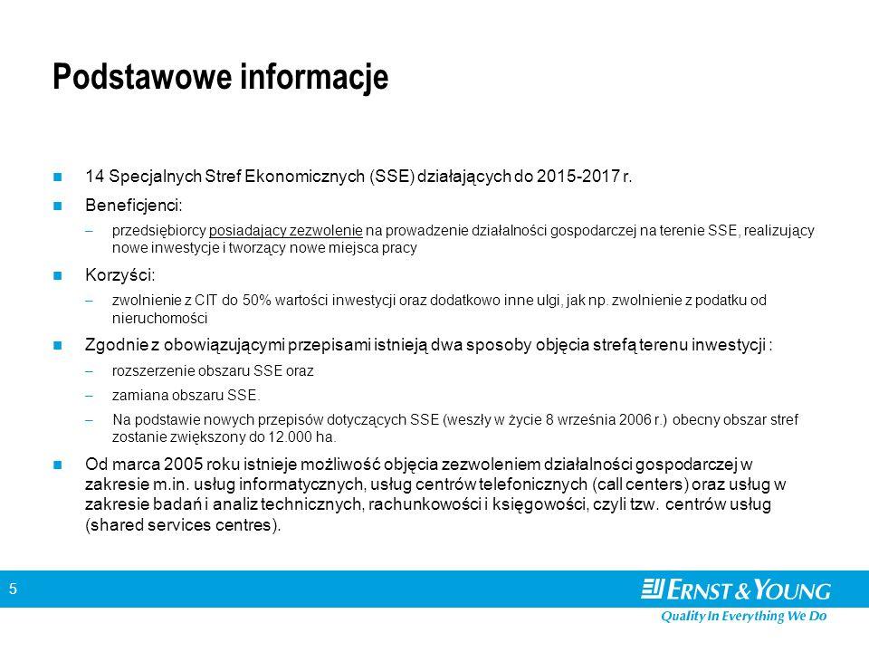 5 Podstawowe informacje 14 Specjalnych Stref Ekonomicznych (SSE) działających do 2015-2017 r.