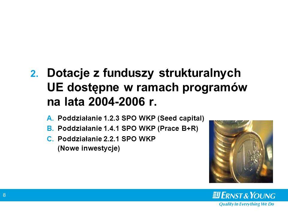 8 2.Dotacje z funduszy strukturalnych UE dostępne w ramach programów na lata 2004-2006 r.