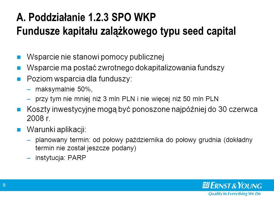 9 A. Poddziałanie 1.2.3 SPO WKP Fundusze kapitału zalążkowego typu seed capital Wsparcie nie stanowi pomocy publicznej Wsparcie ma postać zwrotnego do