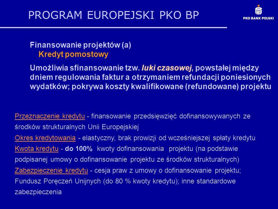 PROGRAM EUROPEJSKI PKO BP Finansowanie projektów (a) Kredyt pomostowy Umożliwia sfinansowanie tzw. luki czasowej, powstałej między dniem regulowania f