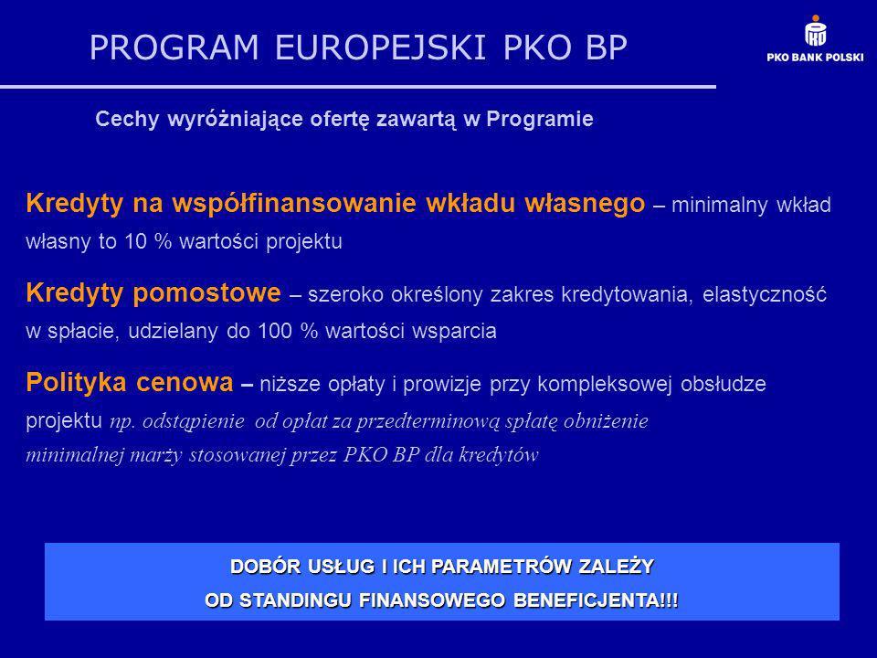 PROGRAM EUROPEJSKI PKO BP Cechy wyróżniające ofertę zawartą w Programie Kredyty na współfinansowanie wkładu własnego – minimalny wkład własny to 10 %