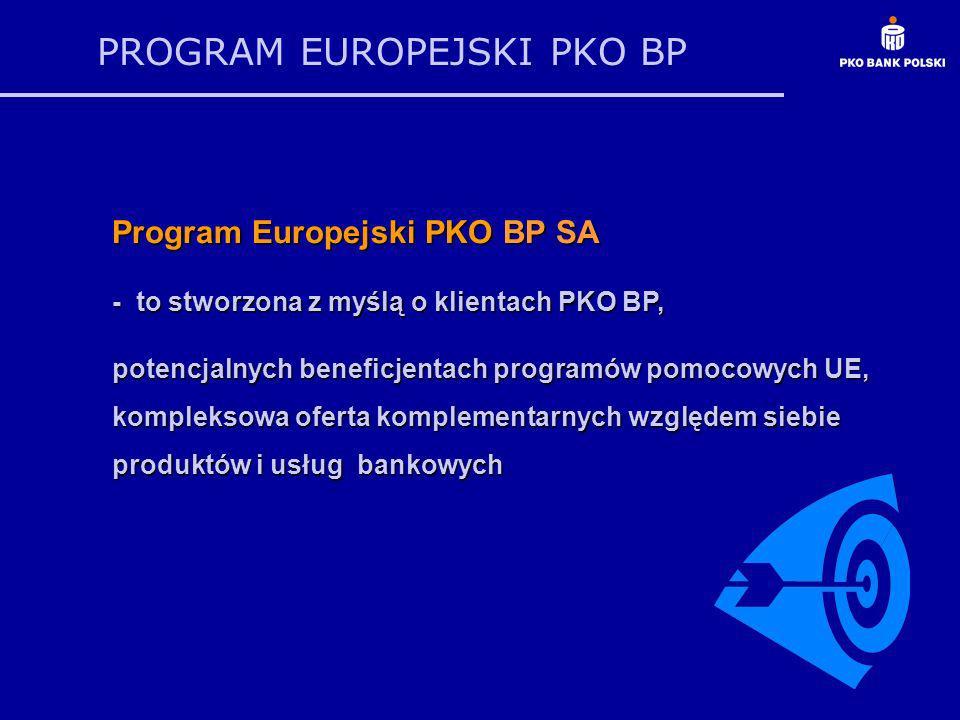 PROGRAM EUROPEJSKI PKO BP Program Europejski PKO BP SA - to stworzona z myślą o klientach PKO BP, potencjalnych beneficjentach programów pomocowych UE, kompleksowa oferta komplementarnych względem siebie produktów i usług bankowych