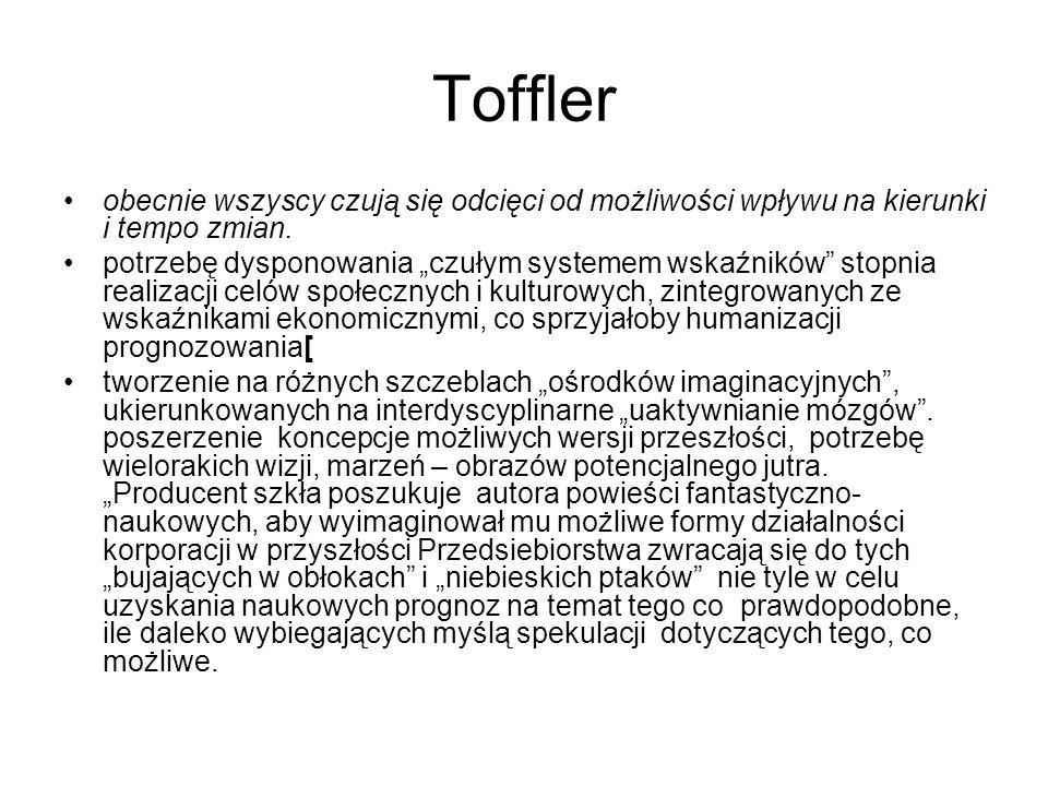 Toffler obecnie wszyscy czują się odcięci od możliwości wpływu na kierunki i tempo zmian.