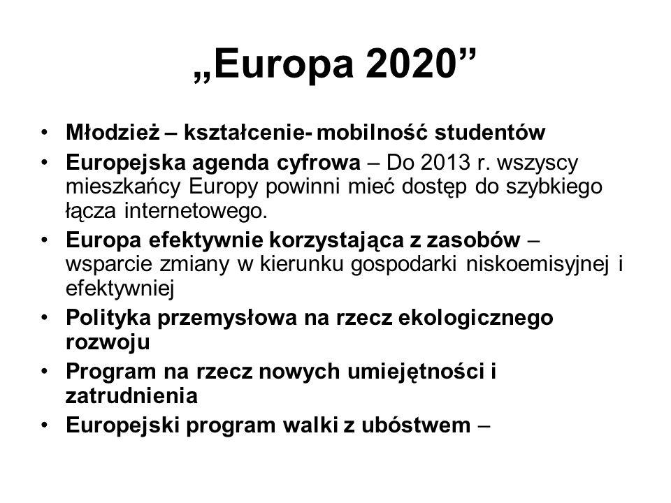 Europa 2020 Młodzież – kształcenie- mobilność studentów Europejska agenda cyfrowa – Do 2013 r.