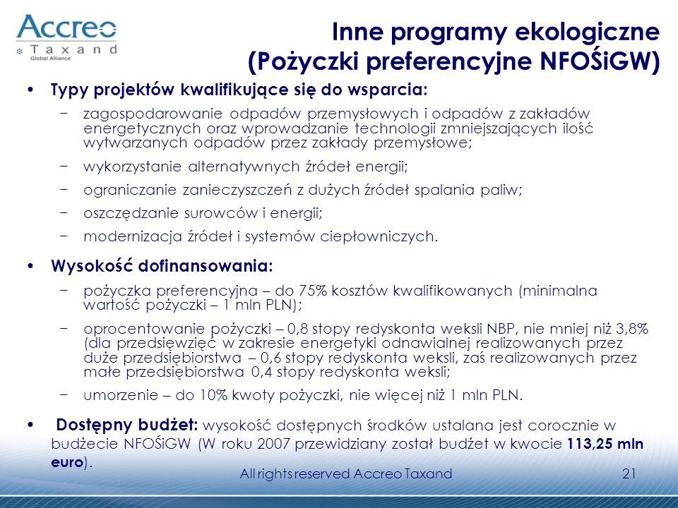 All rights reserved Accreo Taxand21 Inne programy ekologiczne (Pożyczki preferencyjne NFOŚiGW) Typy projektów kwalifikujące się do wsparcia: zagospoda