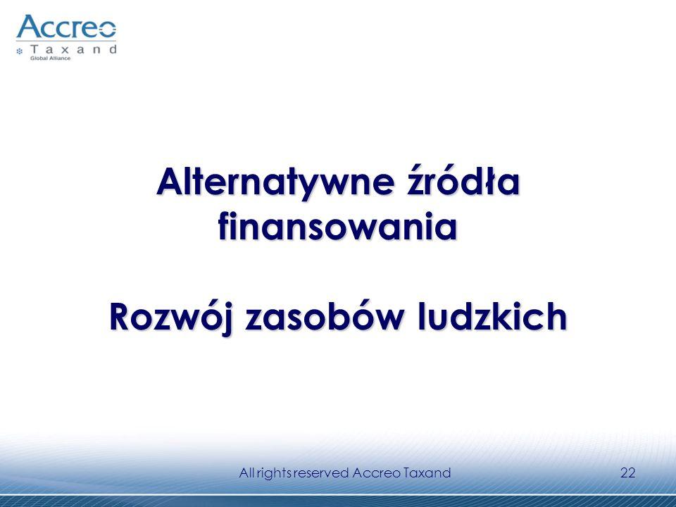 All rights reserved Accreo Taxand22 Alternatywne źródła finansowania Rozwój zasobów ludzkich