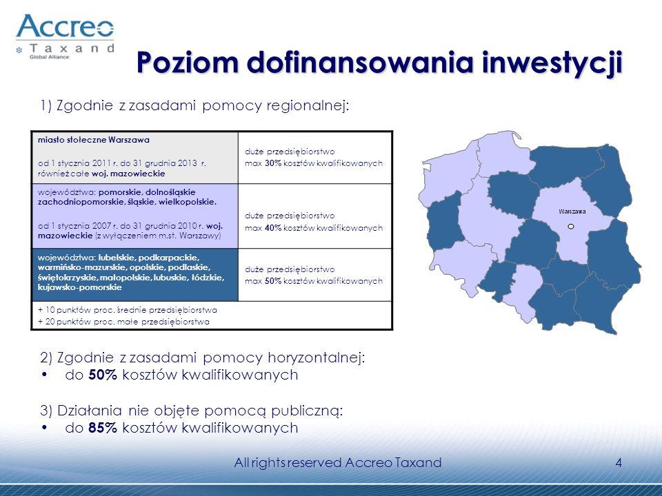 All rights reserved Accreo Taxand4 Poziom dofinansowania inwestycji Poziom dofinansowania inwestycji 2) Zgodnie z zasadami pomocy horyzontalnej: do 50% kosztów kwalifikowanych 3) Działania nie objęte pomocą publiczną: do 85% kosztów kwalifikowanych miasto stołeczne Warszawa od 1 stycznia 2011 r.