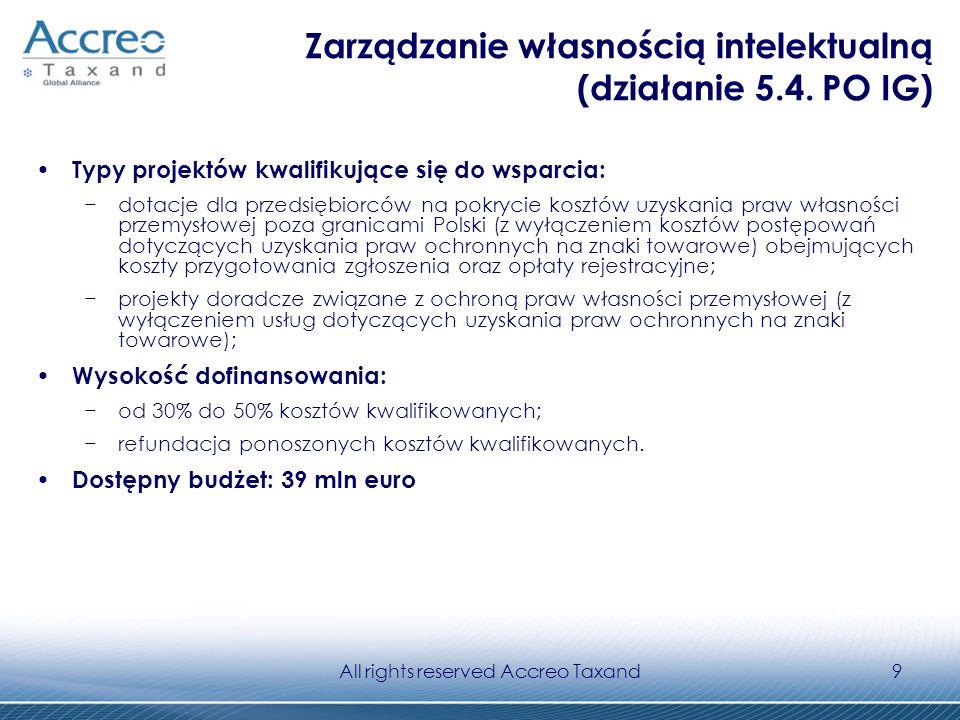 All rights reserved Accreo Taxand20 Inne programy ekologiczne (Fundacja EkoFundusz) Typy projektów kwalifikujące się do wsparcia: kompleksowa modernizacja zamkniętych systemów ogrzewczych, składających się ze źródła lub źródeł ciepła (indywidualne paleniska, kotłownie, elektrociepłownie, grupowy węzeł ciepłowniczy), sieci dystrybucyjnej i odbiorców; zakładanie plantacji roślin szybko rosnących z wykorzystaniem ich do celów energetycznych.