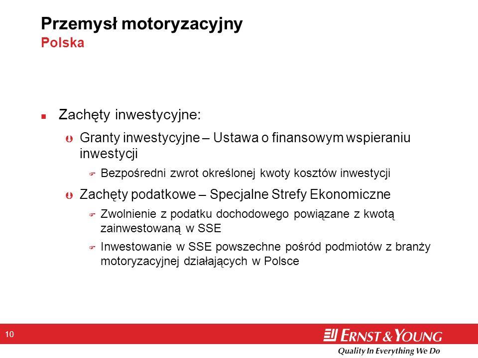 10 Przemysł motoryzacyjny Polska n Zachęty inwestycyjne: Þ Granty inwestycyjne – Ustawa o finansowym wspieraniu inwestycji F Bezpośredni zwrot określo