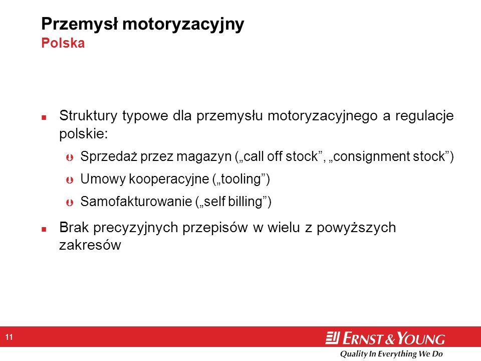 11 Przemysł motoryzacyjny Polska n Struktury typowe dla przemysłu motoryzacyjnego a regulacje polskie: Þ Sprzedaż przez magazyn (call off stock, consi