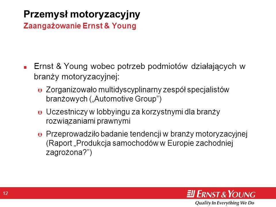 12 Przemysł motoryzacyjny Zaangażowanie Ernst & Young n Ernst & Young wobec potrzeb podmiotów działających w branży motoryzacyjnej: Þ Zorganizowało mu