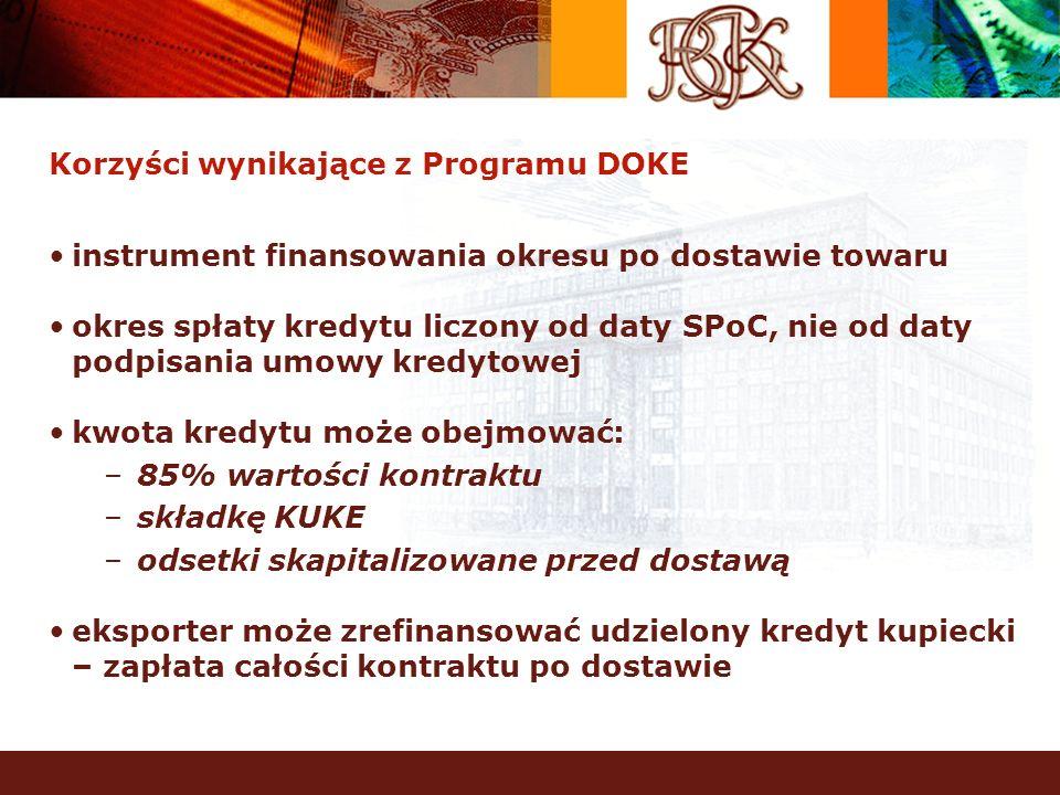 Korzyści wynikające z Programu DOKE instrument finansowania okresu po dostawie towaru okres spłaty kredytu liczony od daty SPoC, nie od daty podpisani