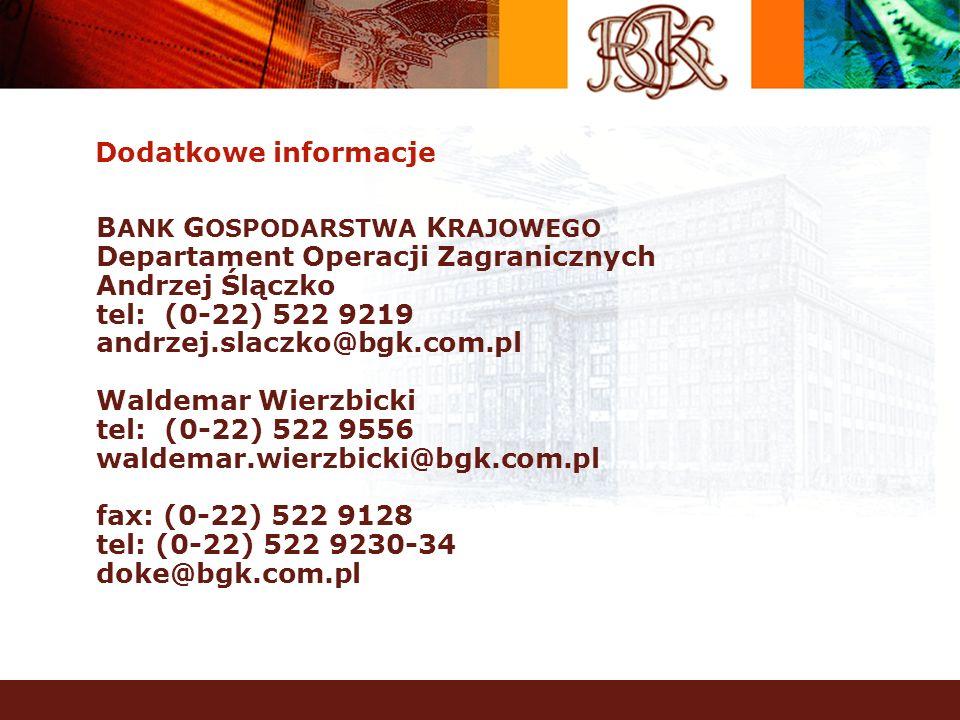 Dodatkowe informacje B ANK G OSPODARSTWA K RAJOWEGO Departament Operacji Zagranicznych Andrzej Ślączko tel: (0-22) 522 9219 andrzej.slaczko@bgk.com.pl