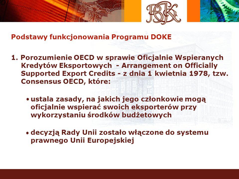 Podstawy funkcjonowania Programu DOKE 1. Porozumienie OECD w sprawie Oficjalnie Wspieranych Kredytów Eksportowych - Arrangement on Officially Supporte