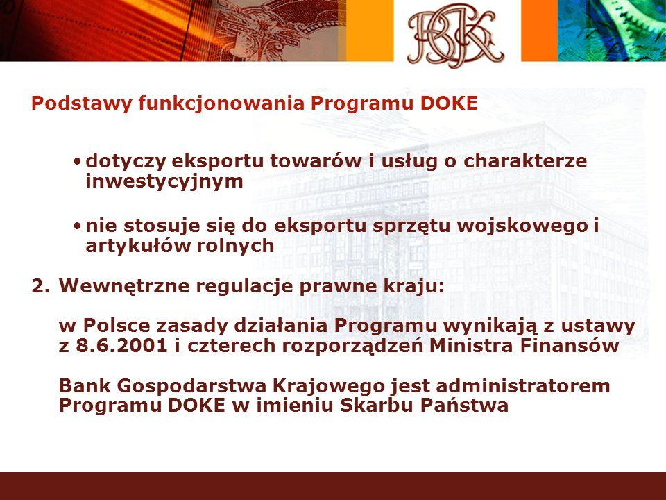 Podstawy funkcjonowania Programu DOKE dotyczy eksportu towarów i usług o charakterze inwestycyjnym nie stosuje się do eksportu sprzętu wojskowego i ar