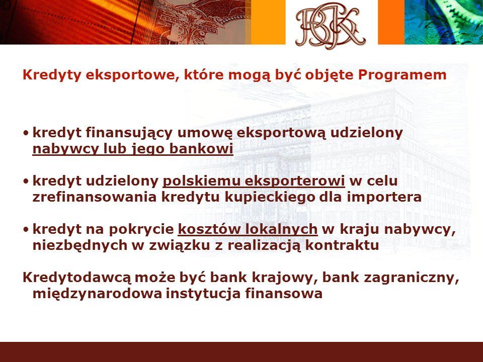 Kredyty eksportowe, które mogą być objęte Programem kredyt finansujący umowę eksportową udzielony nabywcy lub jego bankowi kredyt udzielony polskiemu