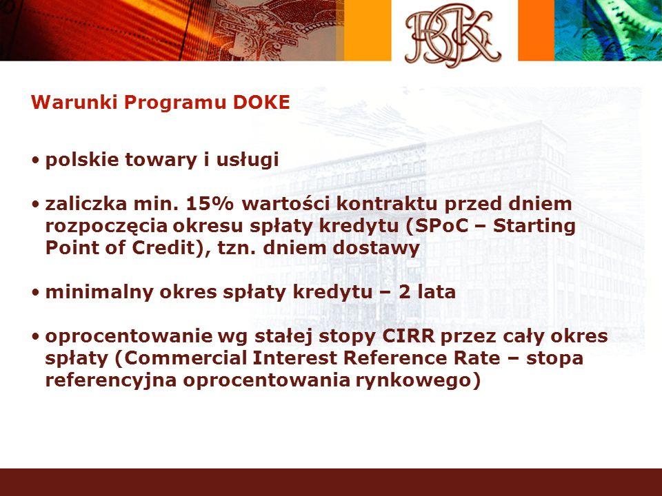 Warunki Programu DOKE polskie towary i usługi zaliczka min. 15% wartości kontraktu przed dniem rozpoczęcia okresu spłaty kredytu (SPoC – Starting Poin