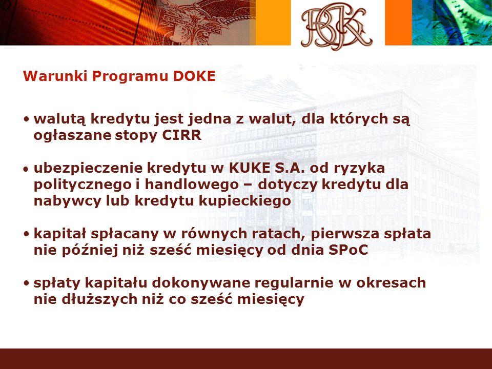 Warunki Programu DOKE walutą kredytu jest jedna z walut, dla których są ogłaszane stopy CIRR ubezpieczenie kredytu w KUKE S.A. od ryzyka politycznego