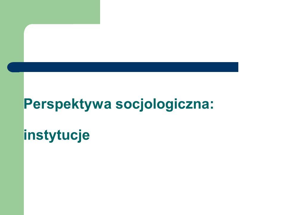 Perspektywa socjologiczna: instytucje