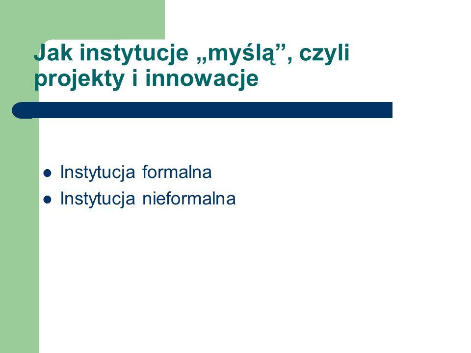 Jak instytucje myślą, czyli projekty i innowacje Instytucja formalna Instytucja nieformalna