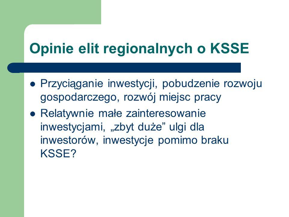 Opinie elit regionalnych o KSSE Przyciąganie inwestycji, pobudzenie rozwoju gospodarczego, rozwój miejsc pracy Relatywnie małe zainteresowanie inwestycjami, zbyt duże ulgi dla inwestorów, inwestycje pomimo braku KSSE