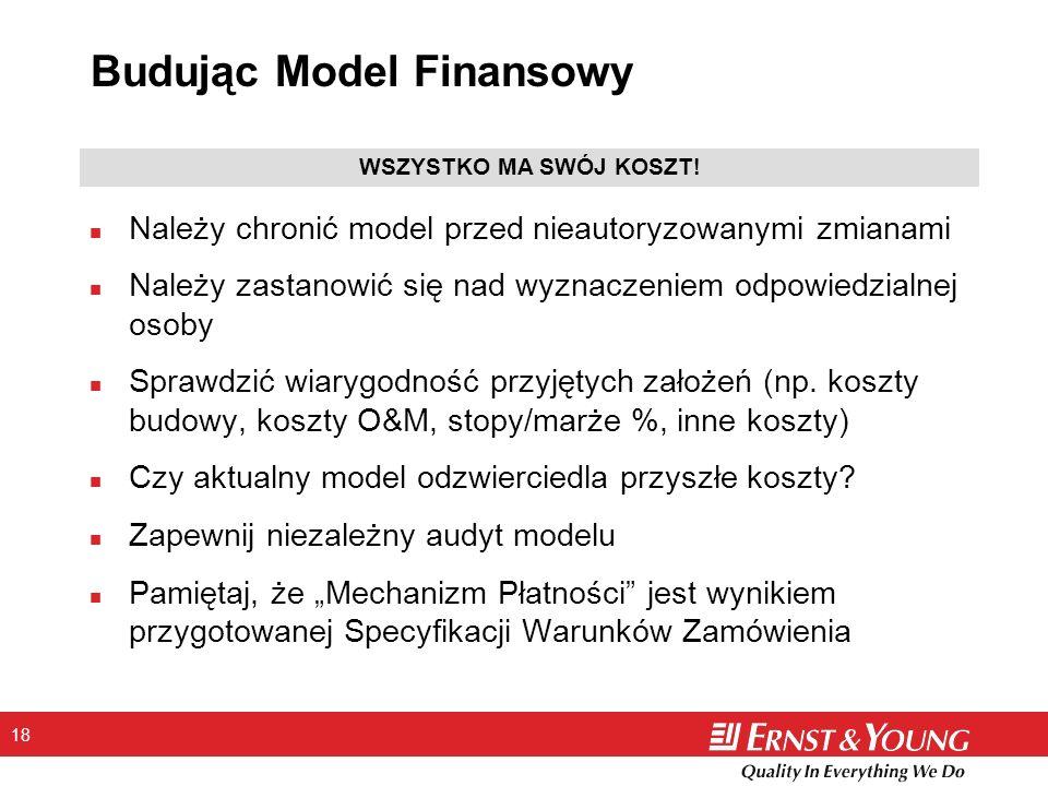 18 Budując Model Finansowy n Należy chronić model przed nieautoryzowanymi zmianami n Należy zastanowić się nad wyznaczeniem odpowiedzialnej osoby n Sp