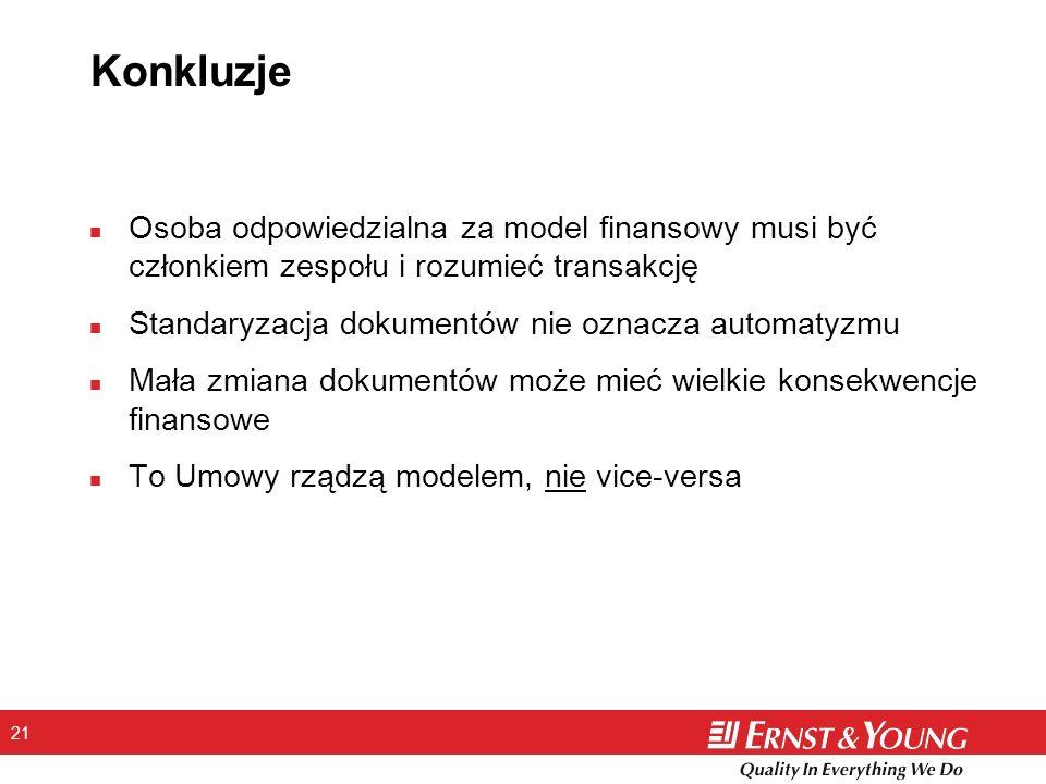 21 Konkluzje n Osoba odpowiedzialna za model finansowy musi być członkiem zespołu i rozumieć transakcję n Standaryzacja dokumentów nie oznacza automat