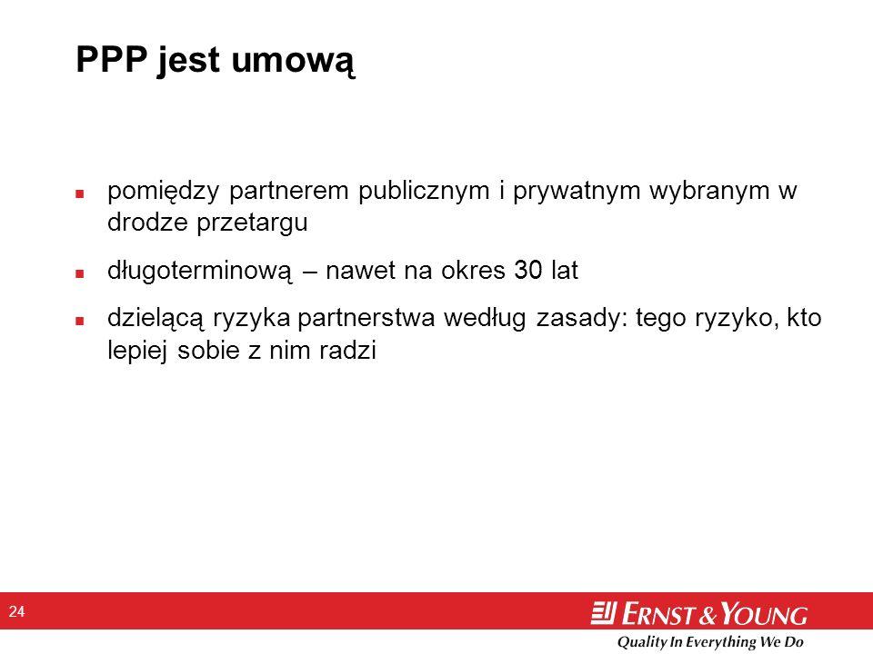 24 PPP jest umową n pomiędzy partnerem publicznym i prywatnym wybranym w drodze przetargu n długoterminową – nawet na okres 30 lat n dzielącą ryzyka p