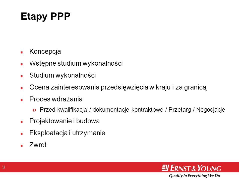 3 Etapy PPP n Koncepcja n Wstępne studium wykonalności n Studium wykonalności n Ocena zainteresowania przedsięwzięcia w kraju i za granicą n Proces wd
