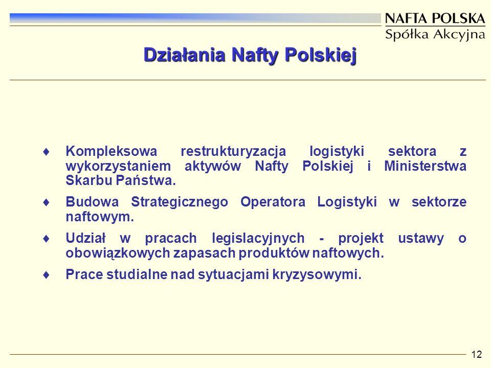 12 Kompleksowa restrukturyzacja logistyki sektora z wykorzystaniem aktywów Nafty Polskiej i Ministerstwa Skarbu Państwa.