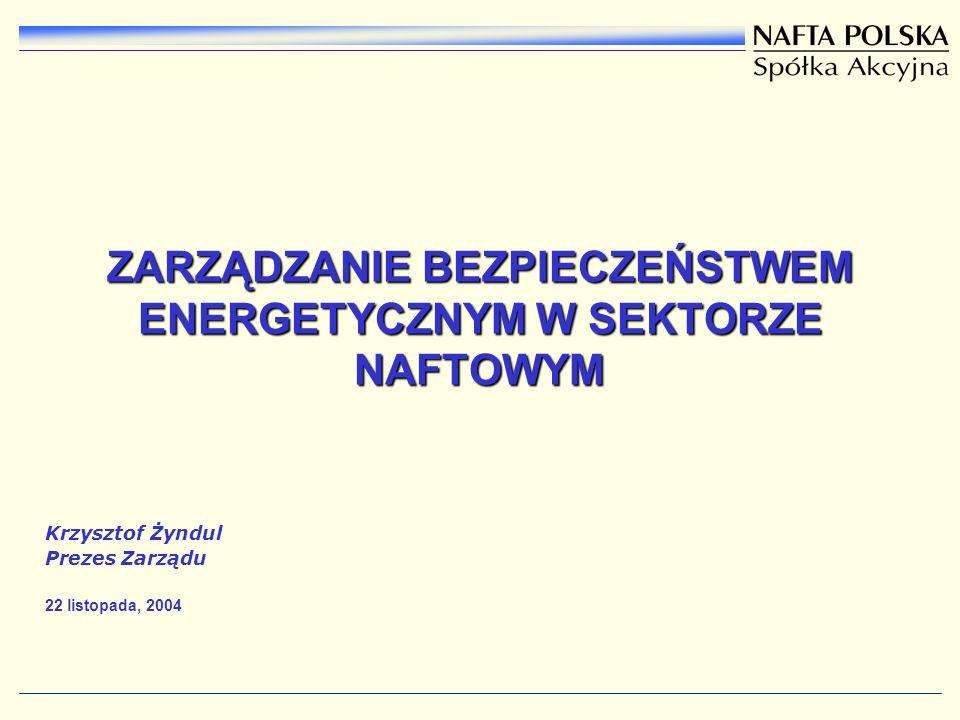 ZARZĄDZANIE BEZPIECZEŃSTWEM ENERGETYCZNYM W SEKTORZE NAFTOWYM Krzysztof Żyndul Prezes Zarządu 22 listopada, 2004