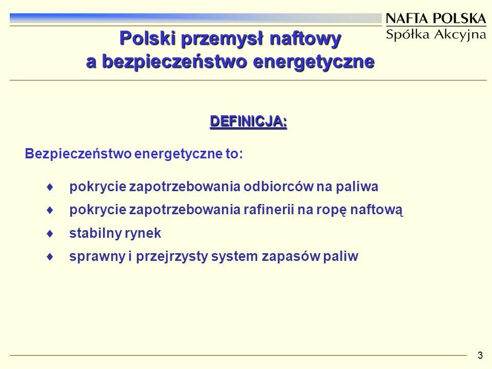 3 Polski przemysł naftowy a bezpieczeństwo energetyczne DEFINICJA: DEFINICJA: Bezpieczeństwo energetyczne to: pokrycie zapotrzebowania odbiorców na paliwa pokrycie zapotrzebowania rafinerii na ropę naftową stabilny rynek sprawny i przejrzysty system zapasów paliw