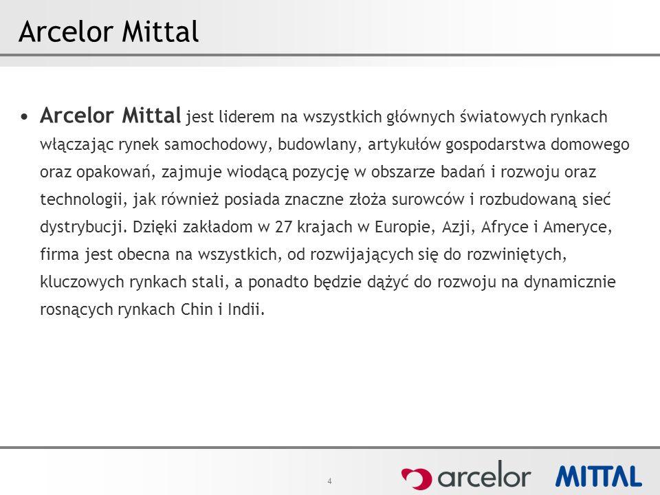 4 Arcelor Mittal Arcelor Mittal jest liderem na wszystkich głównych światowych rynkach włączając rynek samochodowy, budowlany, artykułów gospodarstwa domowego oraz opakowań, zajmuje wiodącą pozycję w obszarze badań i rozwoju oraz technologii, jak również posiada znaczne złoża surowców i rozbudowaną sieć dystrybucji.