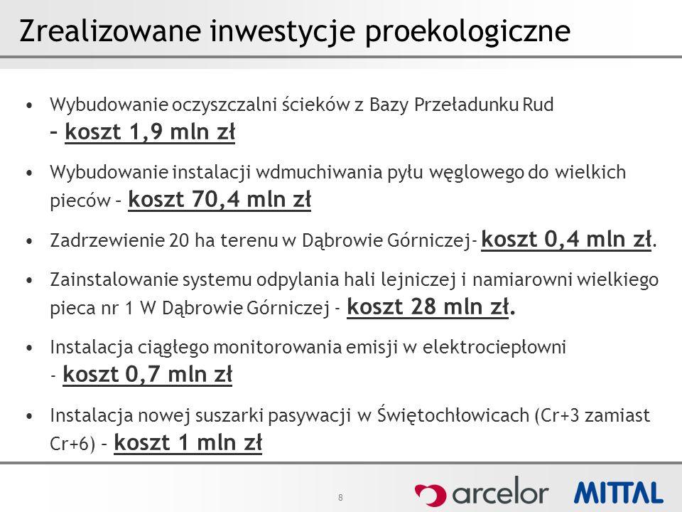 8 Zrealizowane inwestycje proekologiczne Wybudowanie oczyszczalni ścieków z Bazy Przeładunku Rud – koszt 1,9 mln zł Wybudowanie instalacji wdmuchiwani