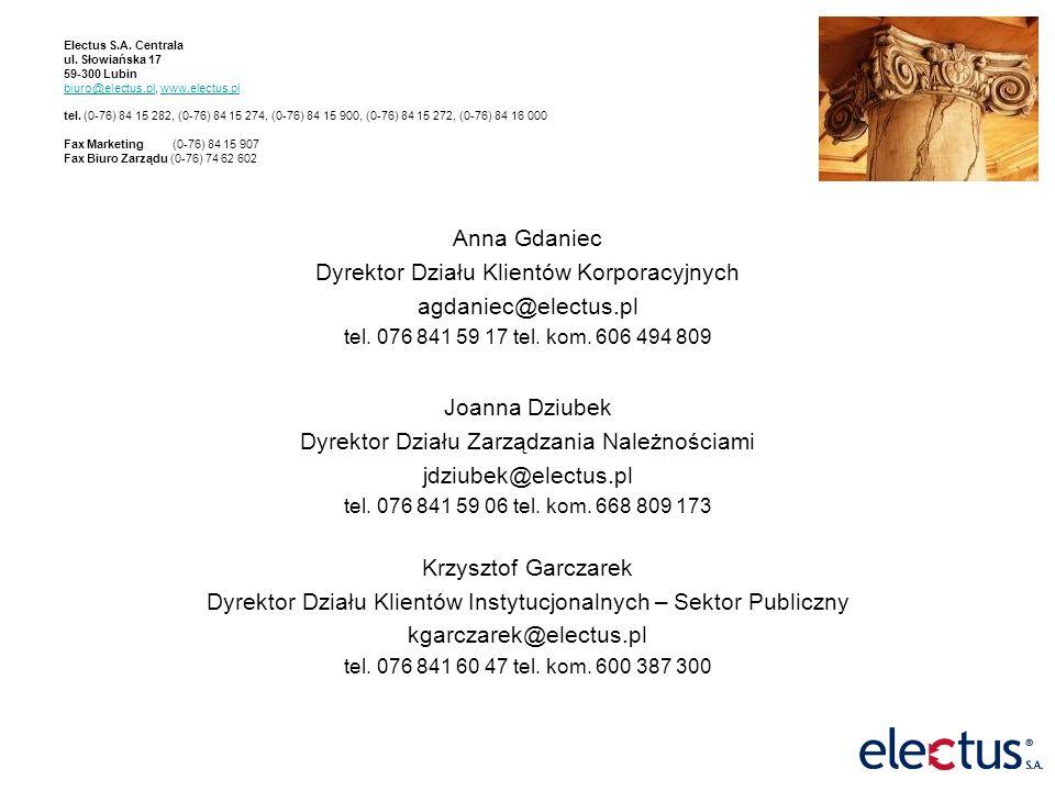 Electus S.A. Centrala ul. Słowiańska 17 59-300 Lubin biuro@electus.pl, www.electus.pl tel.