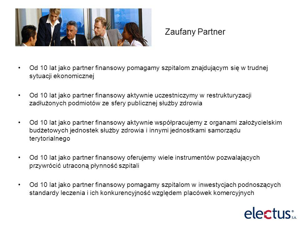 Źródła finansowania SPZOZ electus Partnerem Finansowym Bank JST NFZ ! MZ