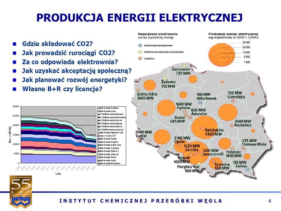 I N S T Y T U T C H E M I C Z N E J P R Z E R Ó B K I W Ę G L A 4 PRODUKCJA ENERGII ELEKTRYCZNEJ Gdzie składować CO2.