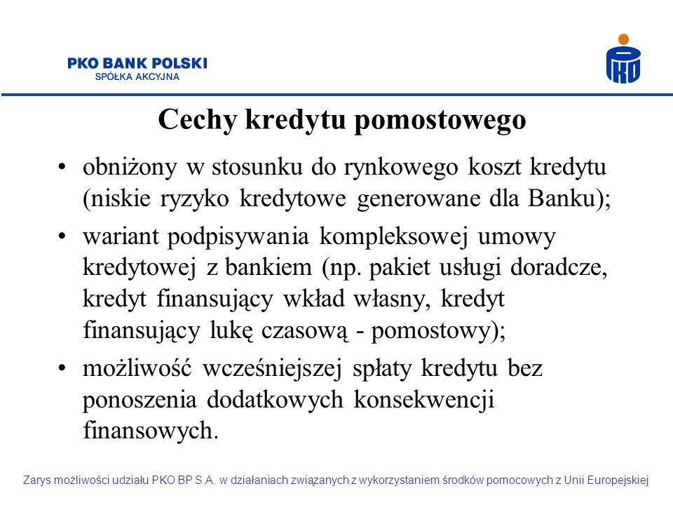 Cechy kredytu pomostowego obniżony w stosunku do rynkowego koszt kredytu (niskie ryzyko kredytowe generowane dla Banku); wariant podpisywania kompleksowej umowy kredytowej z bankiem (np.