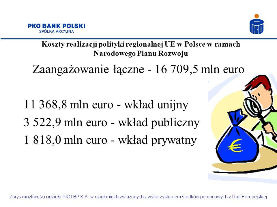 Koszty realizacji polityki regionalnej UE w Polsce w ramach Narodowego Planu Rozwoju Zarys możliwości udziału PKO BP S.A. w działaniach związanych z w
