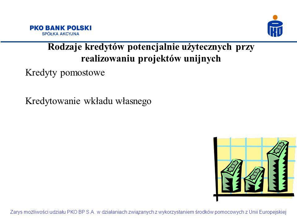 Rodzaje kredytów potencjalnie użytecznych przy realizowaniu projektów unijnych Kredyty pomostowe Kredytowanie wkładu własnego Zarys możliwości udziału PKO BP S.A.