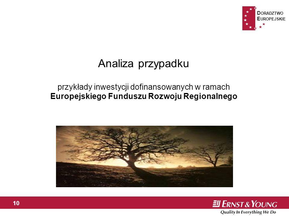 D ORADZTWO E UROPEJSKIE 10 Analiza przypadku przykłady inwestycji dofinansowanych w ramach Europejskiego Funduszu Rozwoju Regionalnego