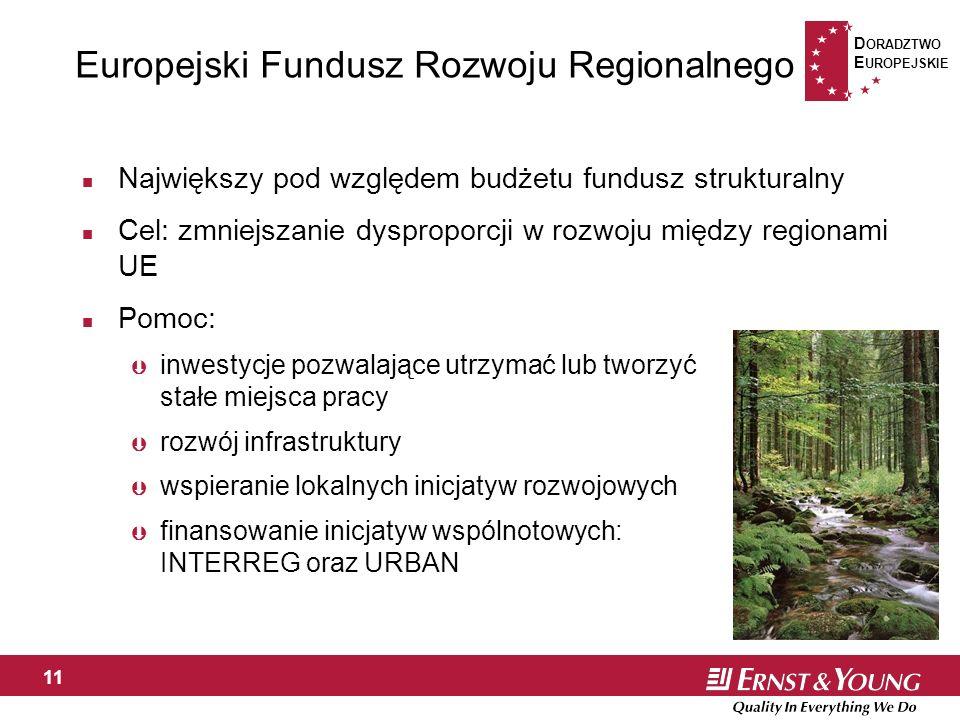 D ORADZTWO E UROPEJSKIE 11 Europejski Fundusz Rozwoju Regionalnego n Największy pod względem budżetu fundusz strukturalny n Cel: zmniejszanie dysproporcji w rozwoju między regionami UE n Pomoc: Þ inwestycje pozwalające utrzymać lub tworzyć stałe miejsca pracy Þ rozwój infrastruktury Þ wspieranie lokalnych inicjatyw rozwojowych Þ finansowanie inicjatyw wspólnotowych: INTERREG oraz URBAN
