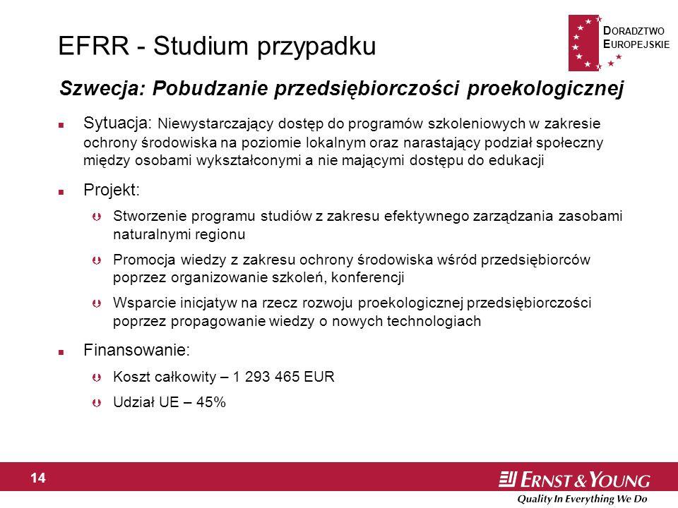D ORADZTWO E UROPEJSKIE 14 EFRR - Studium przypadku n Sytuacja: Niewystarczający dostęp do programów szkoleniowych w zakresie ochrony środowiska na poziomie lokalnym oraz narastający podział społeczny między osobami wykształconymi a nie mającymi dostępu do edukacji n Projekt: Þ Stworzenie programu studiów z zakresu efektywnego zarządzania zasobami naturalnymi regionu Þ Promocja wiedzy z zakresu ochrony środowiska wśród przedsiębiorców poprzez organizowanie szkoleń, konferencji Þ Wsparcie inicjatyw na rzecz rozwoju proekologicznej przedsiębiorczości poprzez propagowanie wiedzy o nowych technologiach n Finansowanie: Þ Koszt całkowity – 1 293 465 EUR Þ Udział UE – 45% Szwecja: Pobudzanie przedsiębiorczości proekologicznej