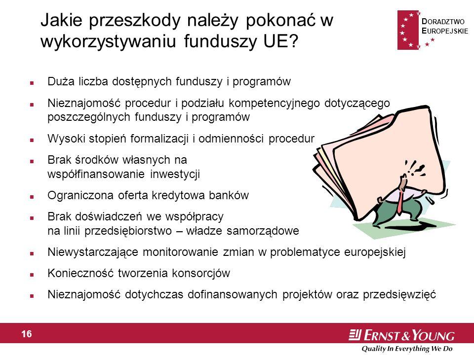 D ORADZTWO E UROPEJSKIE 16 Jakie przeszkody należy pokonać w wykorzystywaniu funduszy UE.