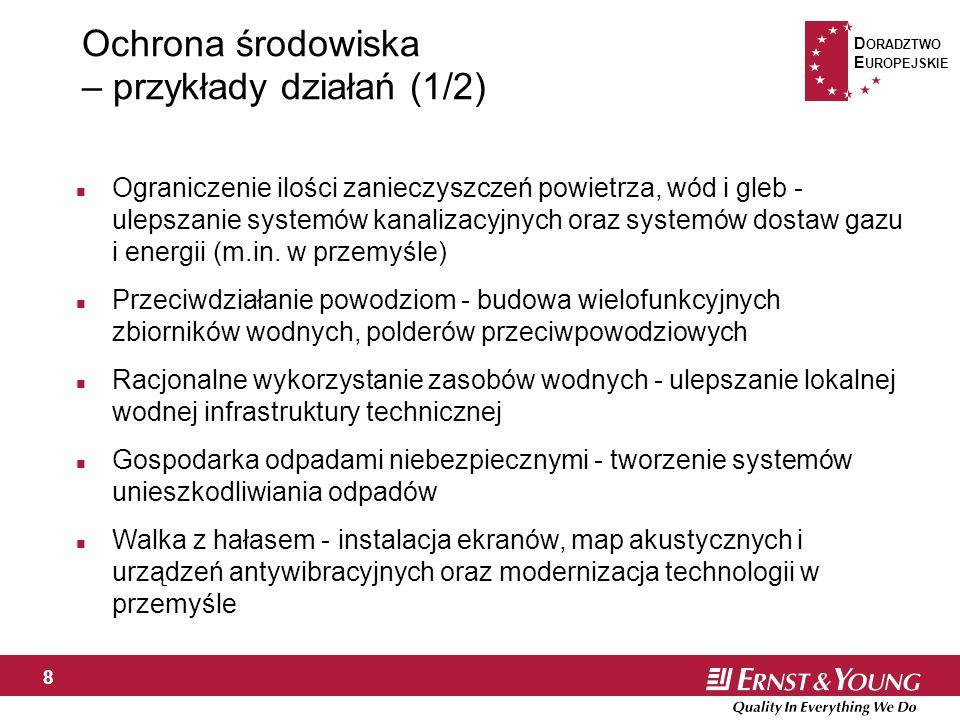 D ORADZTWO E UROPEJSKIE 8 Ochrona środowiska – przykłady działań (1/2) n Ograniczenie ilości zanieczyszczeń powietrza, wód i gleb - ulepszanie systemów kanalizacyjnych oraz systemów dostaw gazu i energii (m.in.