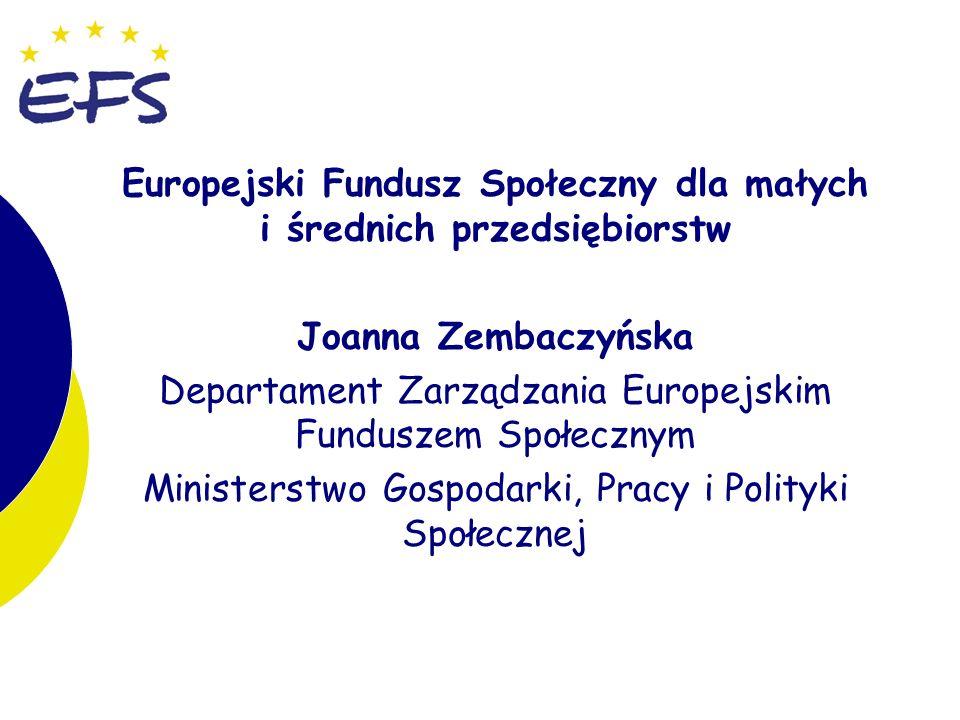 2 Europejski Fundusz Społeczny dla małych i średnich przedsiębiorstw Joanna Zembaczyńska Departament Zarządzania Europejskim Funduszem Społecznym Ministerstwo Gospodarki, Pracy i Polityki Społecznej