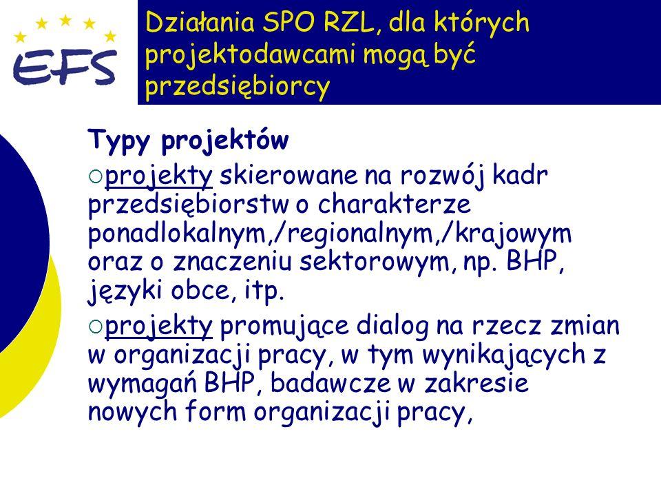 21 Działania SPO RZL, dla których projektodawcami mogą być przedsiębiorcy Typy projektów projekty skierowane na rozwój kadr przedsiębiorstw o charakte