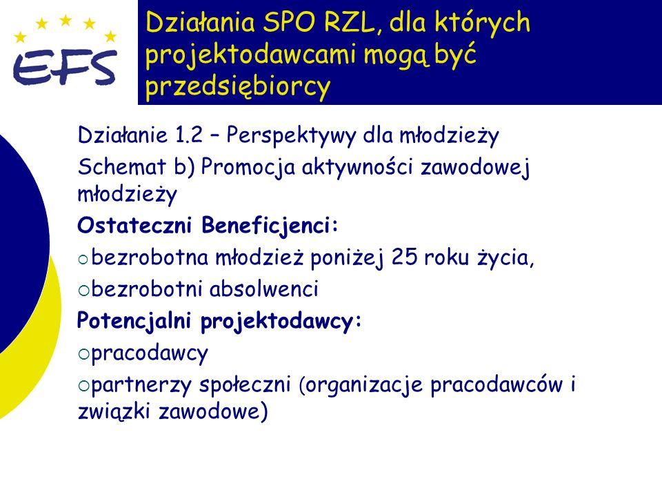 5 Działania SPO RZL, dla których projektodawcami mogą być przedsiębiorcy Działanie 1.2 – Perspektywy dla młodzieży Schemat b) Promocja aktywności zawodowej młodzieży Ostateczni Beneficjenci: bezrobotna młodzież poniżej 25 roku życia, bezrobotni absolwenci Potencjalni projektodawcy: pracodawcy partnerzy społeczni ( organizacje pracodawców i związki zawodowe)